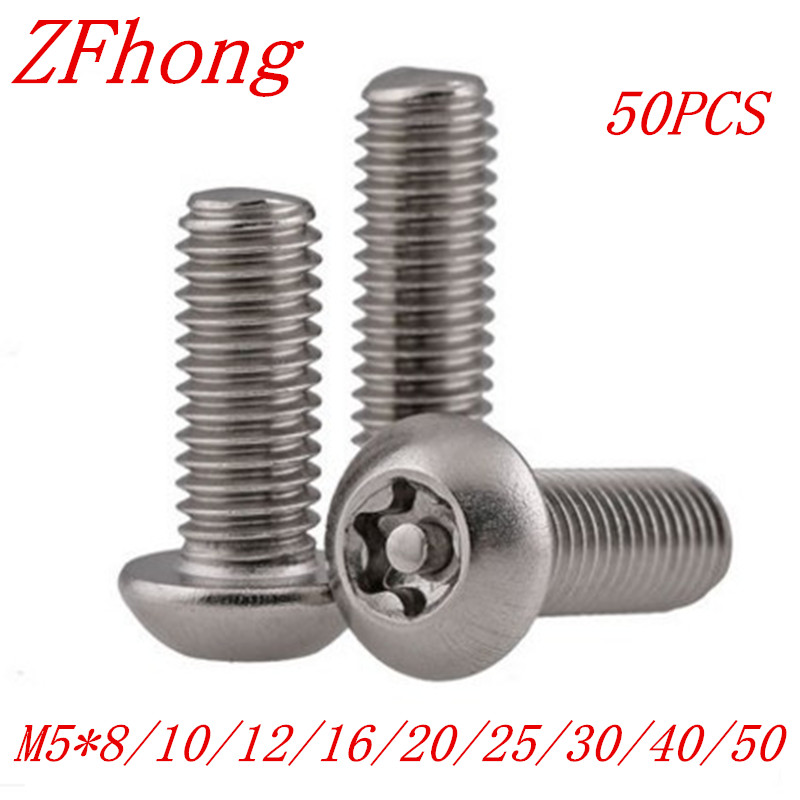 50pcs/lot  ISO7380 M5*8/10/12/16/20/25/30/40/50 A2 Stainless Steel Torx Button Head Tamper Proof Security Screw Screws 7380 fan7380 sop 8