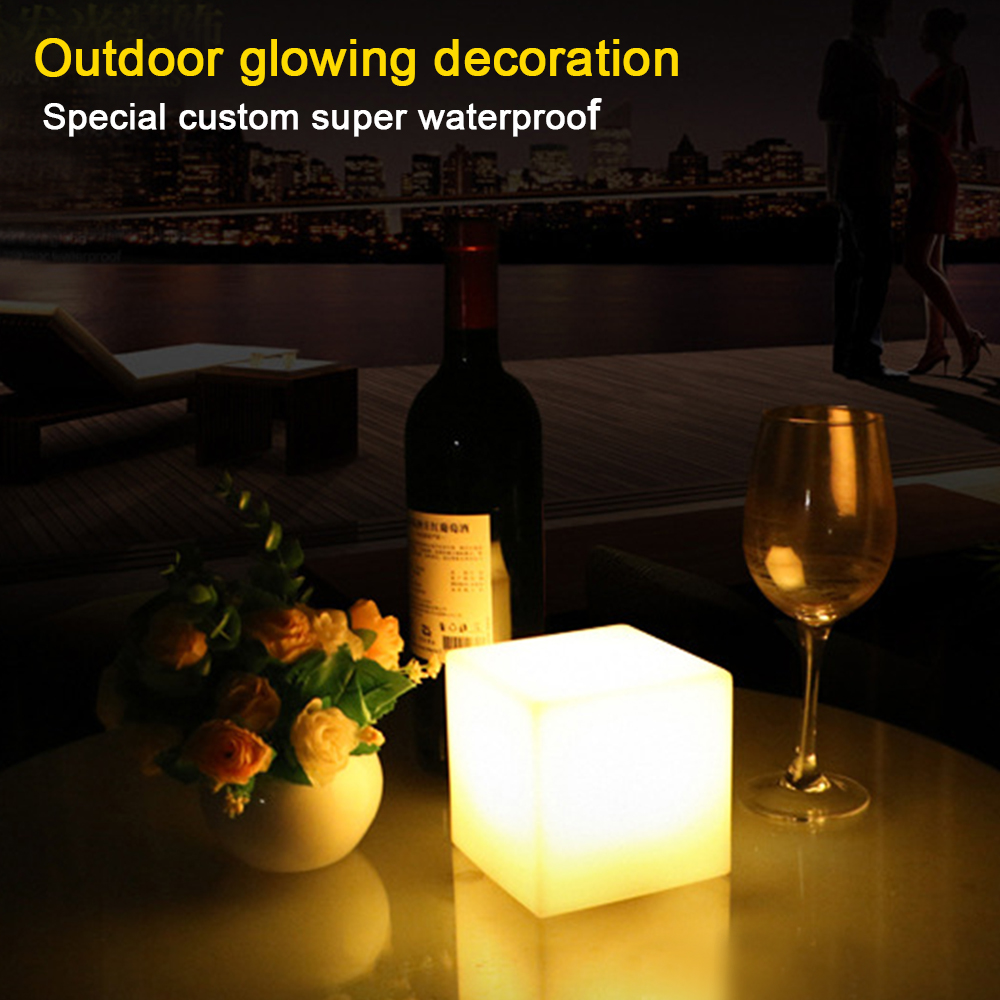 LED bar stool luminous cube outdoor IP68 luminous furniture creative remote switch control colorful changing side stool Size25cm