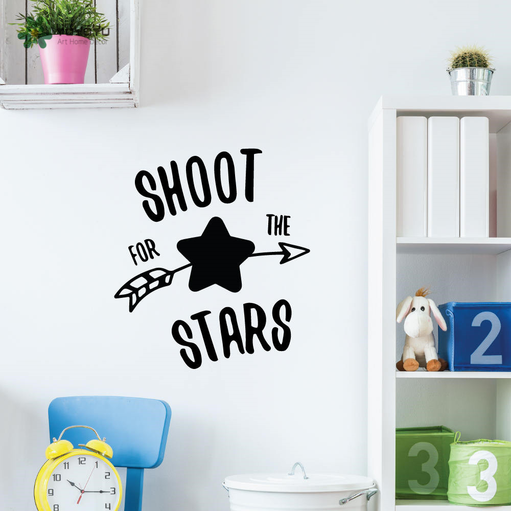 YOYOYU Wall Decal Inspirational Quotes Shoot For The Stars Wall Stickers For Kid Rooms Art Mural Nursery Bedroom Home DecorCY481 in Wall Stickers from Home Garden