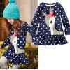 New Fashion 2 7Y Baby Girls Cute Deer Long Sleeve Cotton Polka Dots Top Dress T