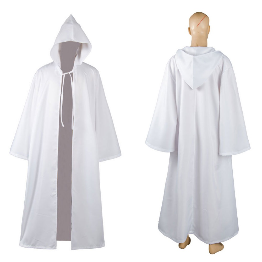 Newest Cosplay Costume Star Wars Jedi Sith tunic/Hooded Costume White Winered Blue Green Robe Cloak Cape Hoodie Adult