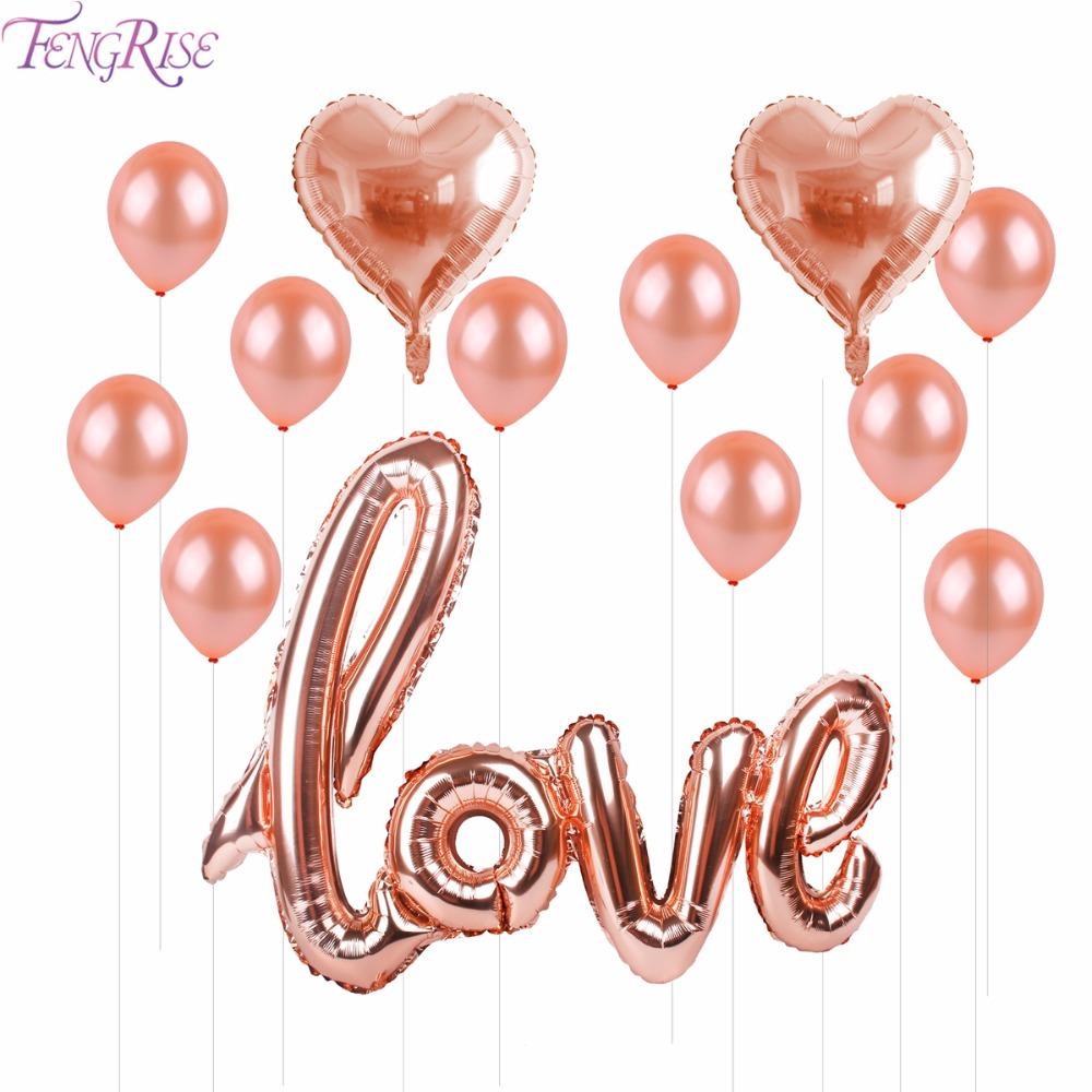 FENGRISE Rose Gold Love Letter Balloons Champagne Cup Wedding Ballon Happy Birthday Party Foil Balloon For Decor