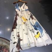 long dress for women summer sexy spaghetti strap dress 2018 high quality silk dress
