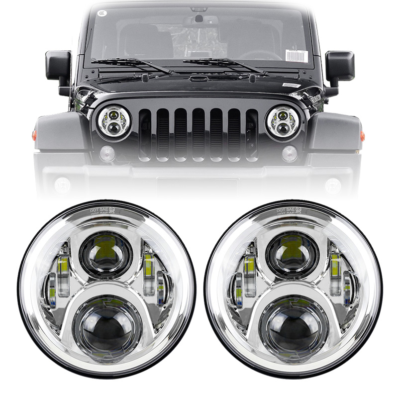 DOT SAE E9 7 Inch Chrome Projection Headlight 50W Hi Low Beam 4500LM for Jeep Wrangler JK/TJ/LJ/CJ Hummer H1 Kenworth Nissan 1x chrome 7 75w round led headlight hi low beam head light with bulb drl for jeep wrangler tj lj jk cj 7 cj 8 scrambler harley