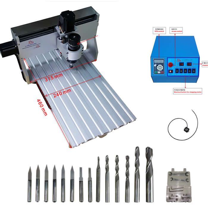 China cnc Manufacturer supply woodwork machinery 3020 mini cnc router 500w spindle with 14pcs drill bits water purifier parts hose flow bend clip 90 degree 1 4 pe tube elbow corner device reverse osmosis system hose pipe diversion