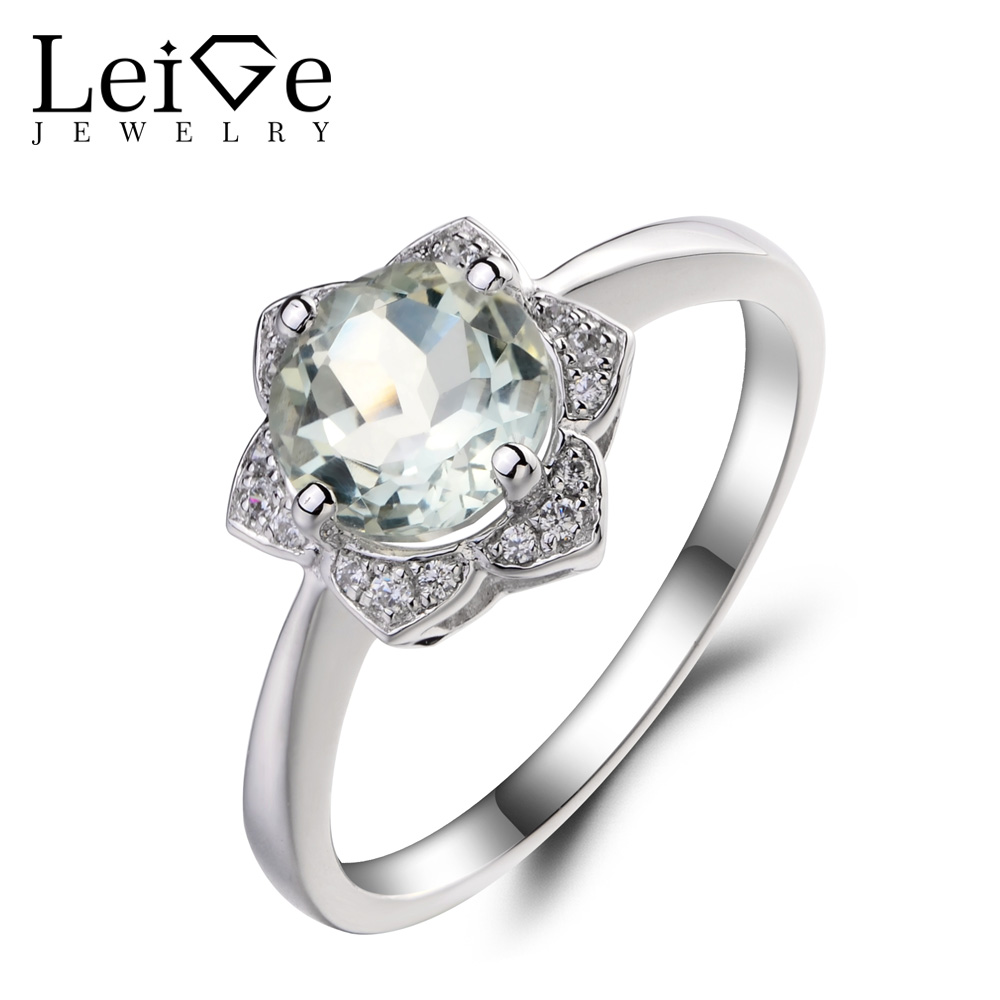 Leige Jewelry Genuine Natural Green Amethyst Promise Wedding Rings 925 Sterling Silver Ring Round Cut Gemstone Rings for WomenLeige Jewelry Genuine Natural Green Amethyst Promise Wedding Rings 925 Sterling Silver Ring Round Cut Gemstone Rings for Women