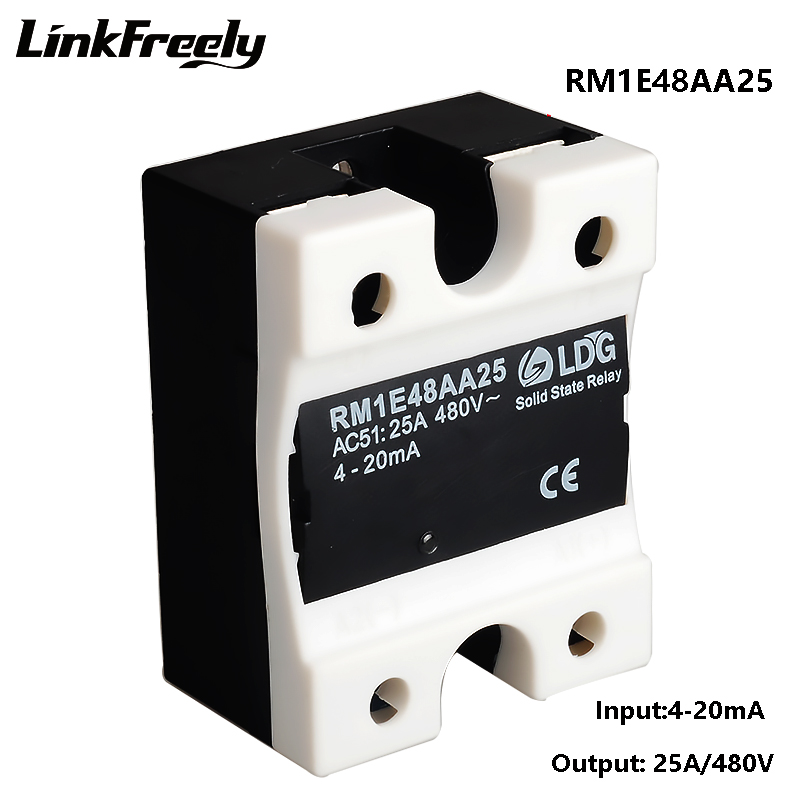 RM1E48AA25 25A 220V Analog SSR Relay Solid State,2SCR Output:42 530VAC Input: 4 20mA,Electrical Voltage SMD Mini Relay Module