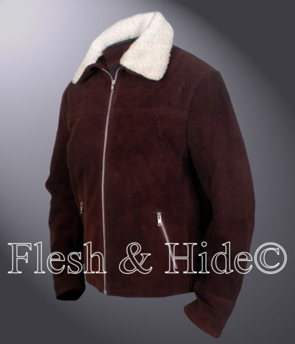 Genuine Cowhide Suede Leather The Walking Dead Rick Grimes Andrew Lincoln Jacket
