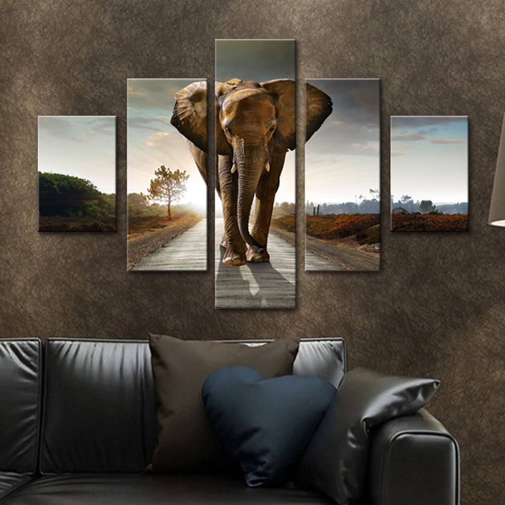 Unframed 5 HD Canvas Prints Elephant Giclee Wall Decor Prints Wall Pictures For Living Room Wall Art Decoration Dropshipping