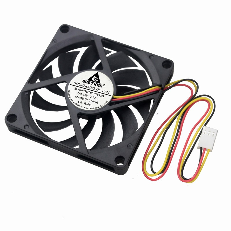 Gdstime 2 Pcs CPU Cooler 80mm 8cm 3Pin 12V DC Brushless Silent Computer PC Case Cooling Fan 80x80x10mm 8010 gdstime 10 pcs 120mm x 25mm 4 pin pwm fg 4 wire dc 12v fluid bearing 12025 silent cooler 12cm cpu computer pc case cooling fan