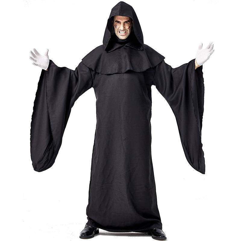Umorden Men Black Azrael Death Costume Devil Demon Cosplay Robe Gown Halloween Purim Carnival Mardi Gras