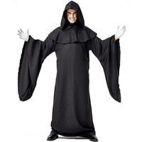 Umorden Men Black Azrael Death Costume Devil Demon Cosplay Robe Gown Halloween Purim Carnival Mardi Gras Party Outfit