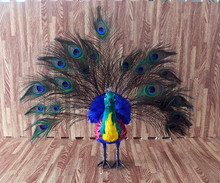 large 45x27cm simulation peacock toy polyethylene & feathers colourful peacock model home decoration gift t192