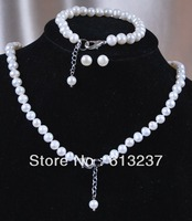 free Shipping new 2014 Fashion DIY 7 7.5mm White Akoya Cultured Pearl Jewelry Bracelet Necklace Earrings Set YE00005