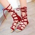 2016 Tenis Femenino Más Tamaño Zapatos de Las Mujeres Sandalias de La Manera Cordón Cruz Cremallera Estilo Chaussure Femme Sapato Feminino Verano 1239