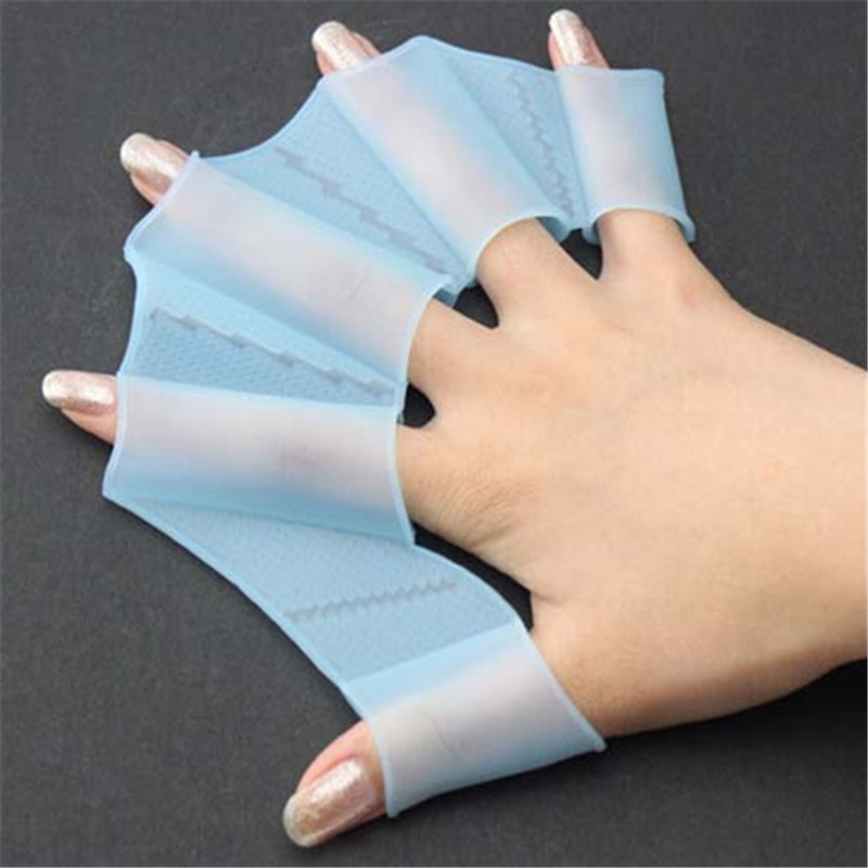 Unique Swimming Finger Webbed Gloves Frog Hand Gear Fins Palm Flippers Paddle Silicone Women's Swimming Suit