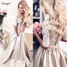 New Vintage Long Prom Dresses Sexy Half Sleeves Satin Lace Beaded V Neck Evening Party Elegant Gowns