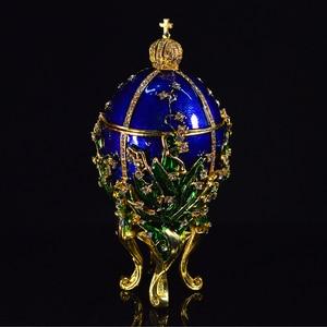 Image 2 - QIFU Royal Blue Faberge Egg Home Decor Metal Easter Egg