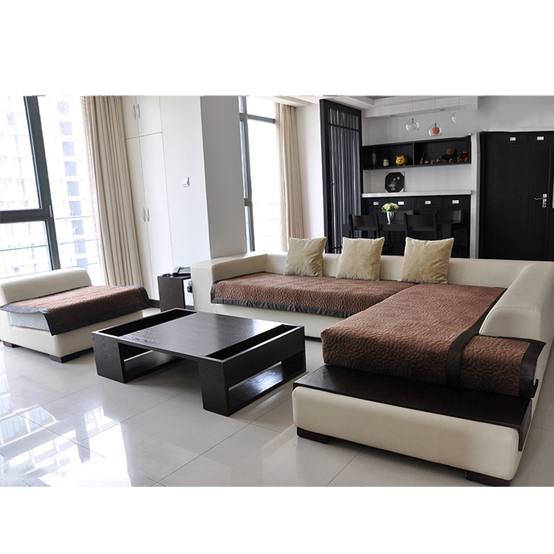 Stylish Anti Skid Sofa Cover Cushion Elastic Plush Slipcover Solid Color Sofa  Couch Cover For Home Furniture Protector