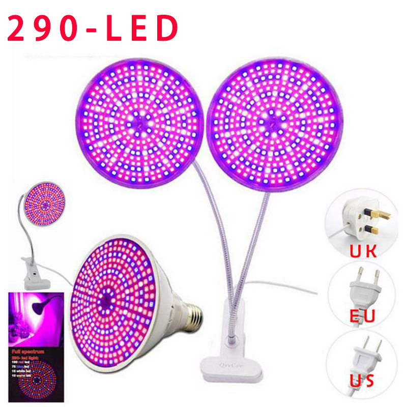 Dual Head 290 LED Plant Grow Light Lamp Full Spectrum Growing Desk Holder Clip Flower Seed For Hydroponic Indoor Greenhouse Room