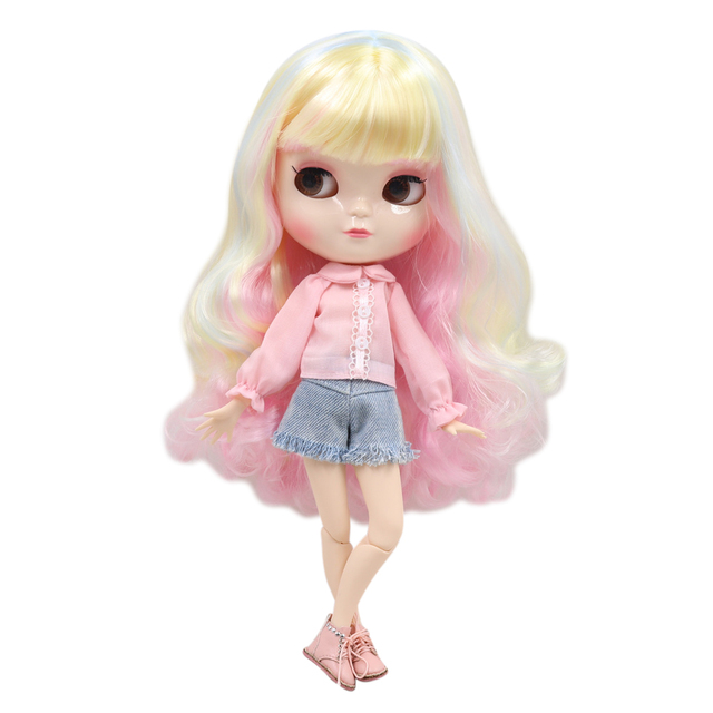 ICY Fortune Days factory doll azone joint body 30cm white skin Cute mixed color long curly hair DIY sd gift toy