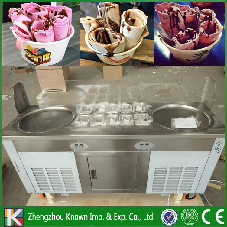 Free shipping supply the 220 / 110 V fried ice cream roll ice pan machine with 2 round pans 10 cooking tanks and 1 refrigerator promotion double big square pans with 11 topping tanks of fried ice cream roll machine free shipping by sea