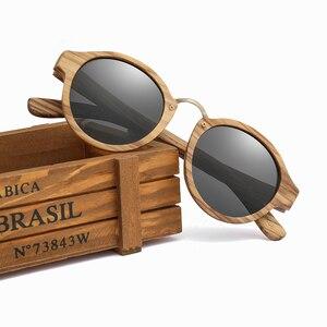 Image 2 - 2020 새로운 브랜드 얼룩말 나무 선글라스 남자 여자 레트로 라운드 태양 안경 편광 된 렌즈 UV400 케이스