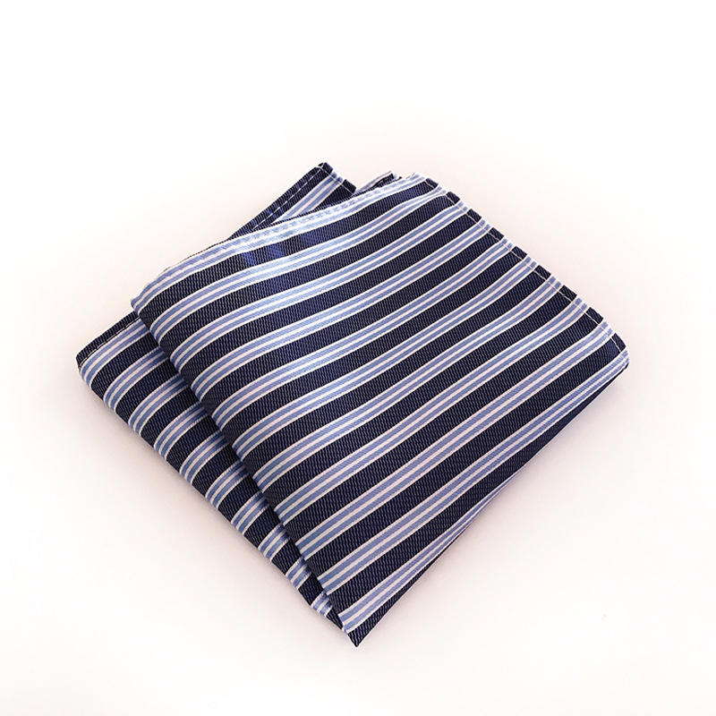 Striped Printed Pocket Square Handkerchiefs For Men Suit Business Formal Polyester Hankies Hanky Wedding Party Chest Towel