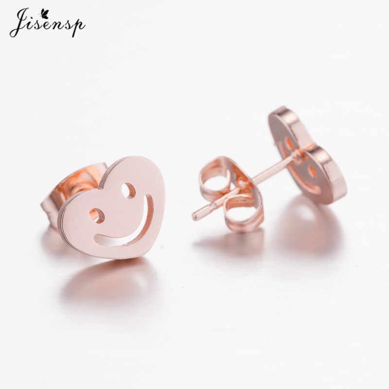 Jisensp การ์ตูน Smile Stud ต่างหูสำหรับเครื่องประดับเด็กของขวัญ Simple Love รูปหัวใจชุดต่างหูผู้หญิงอินเทรนด์คริสต์มาส Accessorie