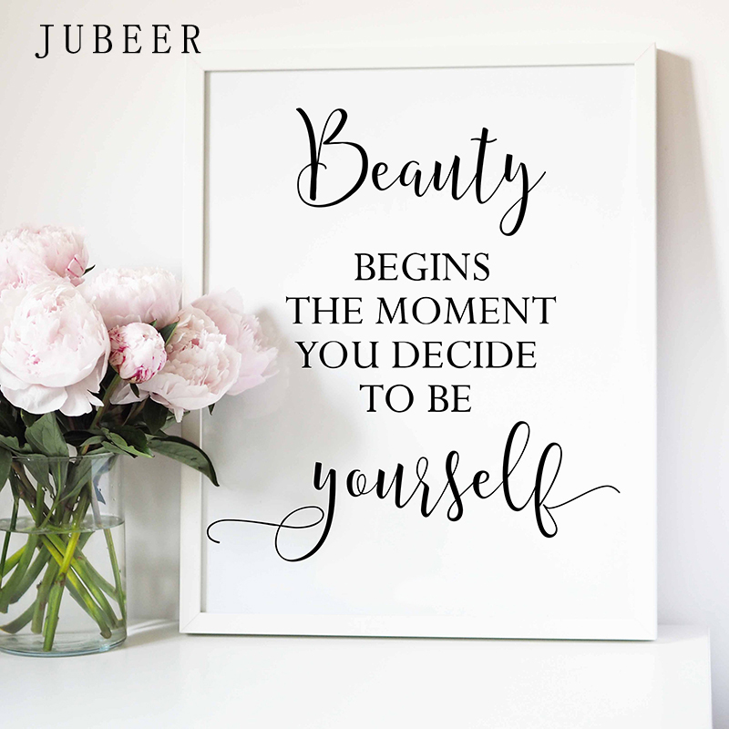 HTB1ezfjaXT7gK0jSZFpq6yTkpXaU Perfume Bottle Wall Art Perfume Posters and Prints Beauty Begins Quote Print Watercolor Flower Pictures Bedroom Decoration