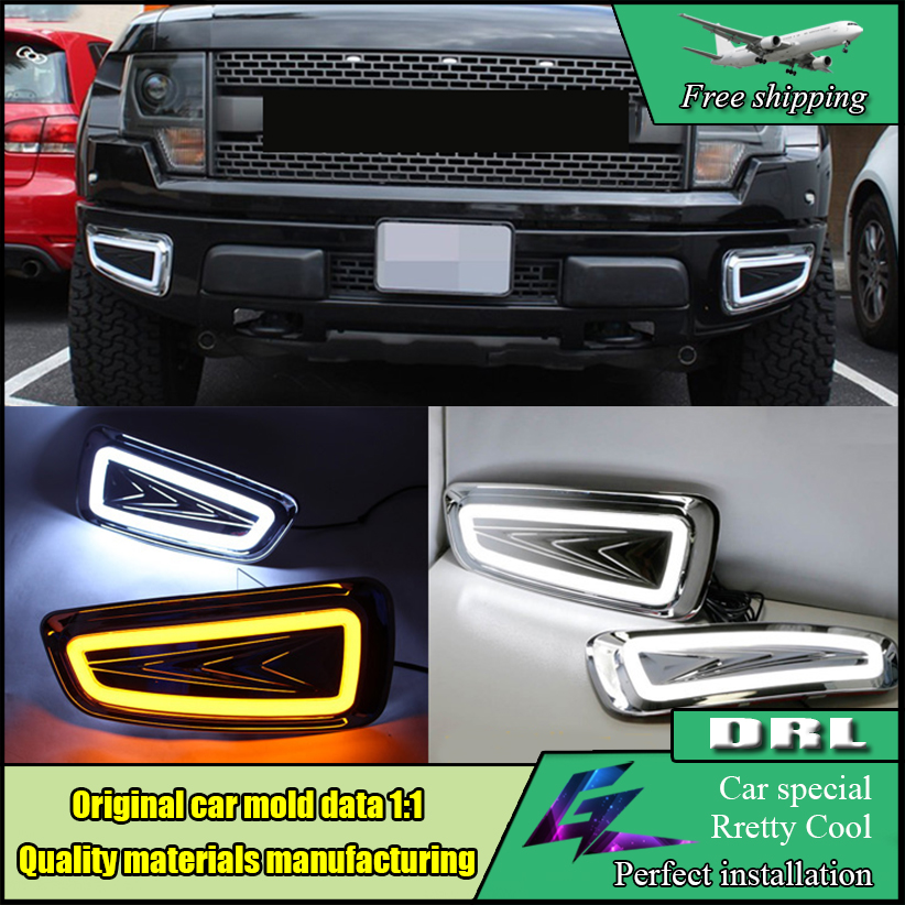 Auto Car LED Daytime Running Lights For Ford Raptor F150 DRL 2009-2014 White style Turn Signal Yellow style Fog Light Lamp cover high quality h3 led 20w led projector high power white car auto drl daytime running lights headlight fog lamp bulb dc12v