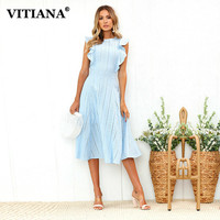 VITIANA Women Office Casual Maxi Long Midi A Line Dress Female 2018 Summer White Blue Solid