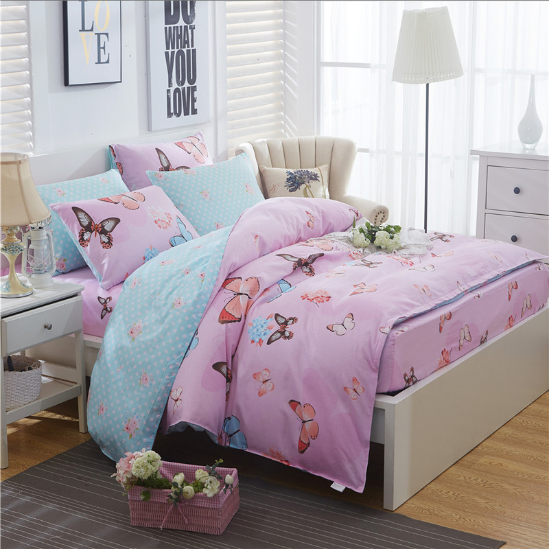 Fresh Butterfly Bedding sets High Quality 4pcs duvet Cover bed sheet pillowcase luxury soft comefortable girl/adult home textileFresh Butterfly Bedding sets High Quality 4pcs duvet Cover bed sheet pillowcase luxury soft comefortable girl/adult home textile