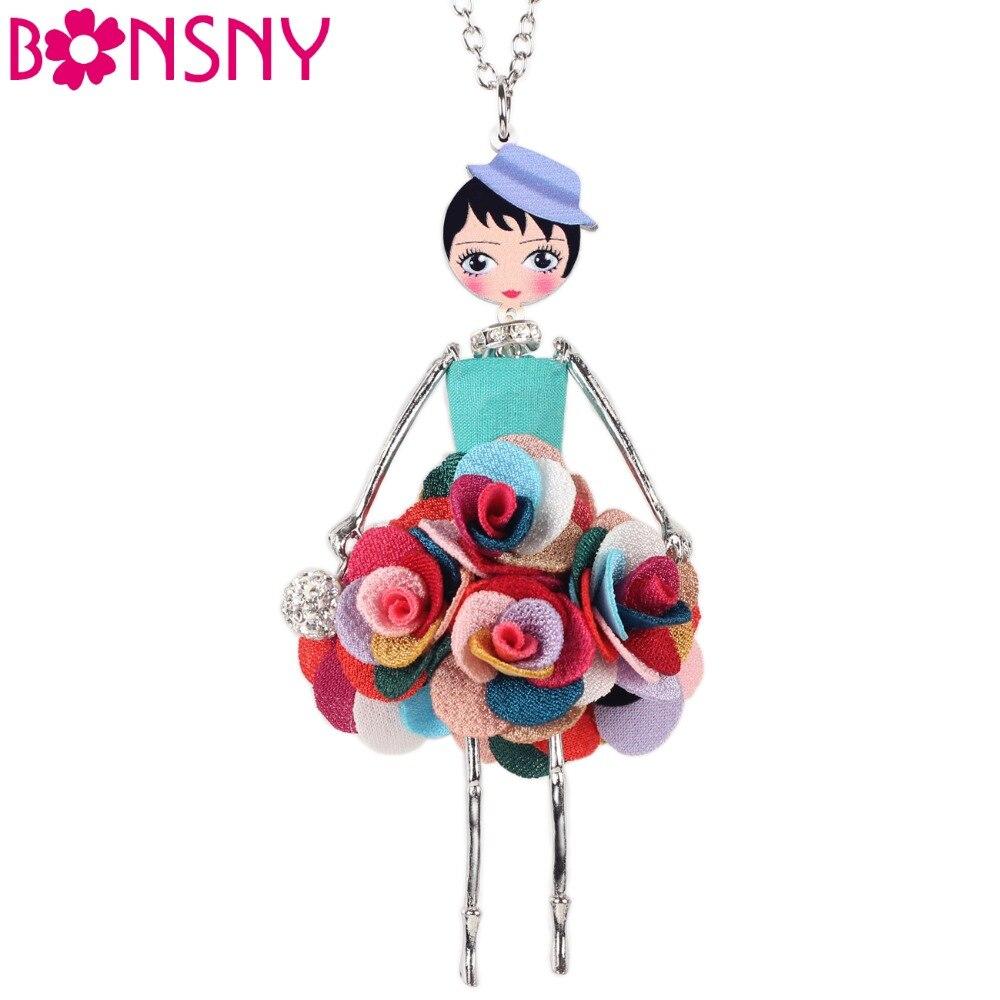 Bonsny Statement Flower Doll Necklace Dress Handmade French s