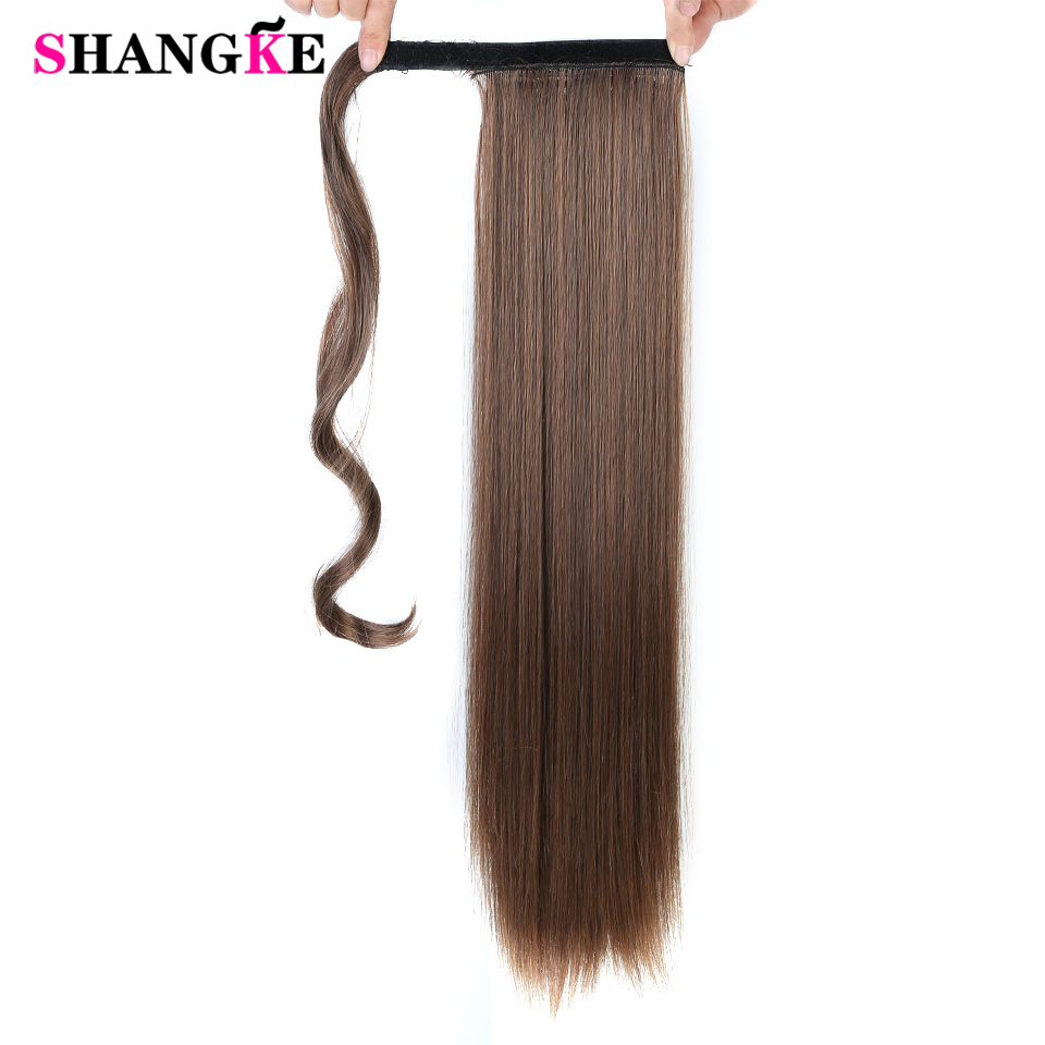 SHANGKE 24''Long Rak Ponytail Clip In Pony Tail Hair Extension - Syntetiskt hår