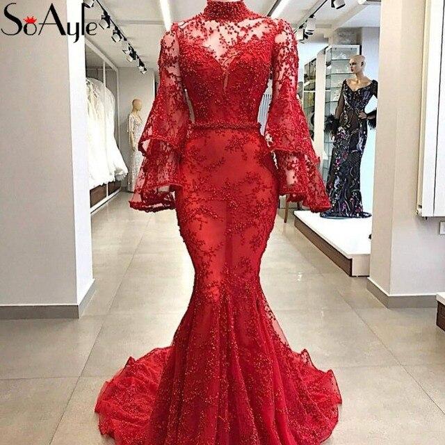 SoAyle 2018 Mermaid High Neck Evening Dresses Red Lace Long Sleeves Beading Prom  Dresses Vestidos De Festa Luxury Formal Dresses 547627c3dc85