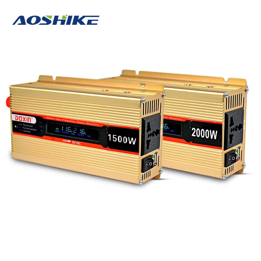 Aoshike 2000W Inverter DC12V to AC220V Automobile Power Converter+LCD Screen with USB Free Send Battery Grip Cigarette Butts plastic car dc12v 24v to ac220v power inverter with usb port black