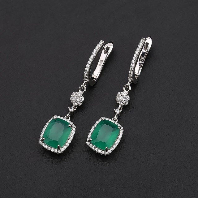 Gem's Ballet Natural Green Agate Solid 925 Sterling Silver 4.43ct Gorgeous Fine Jewelry Drop Earrings For Women New Fashion -in Earrings from Jewelry & Accessories on Aliexpress.com | Alibaba Group
