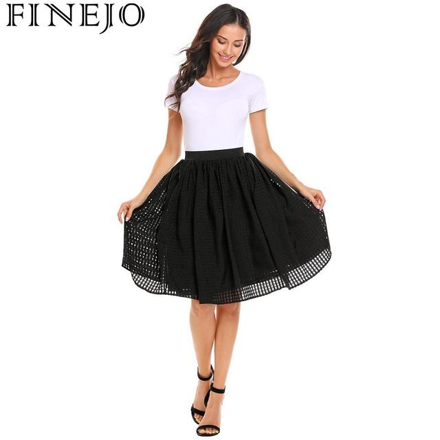FINEJO Pleated Elastic High Waist Women Mesh Casual Knee Length Skirts with Lining