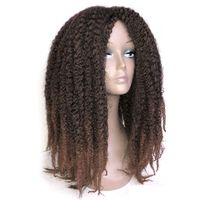 Luxury For Braiding 18inch 240g Ombre Brown Black Color 250g Marley Afro Kinky Curly kanekalon None Lace Synthetic Wig for Women