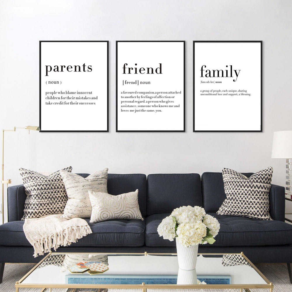 Minimalist family definition quotes canvas painting black and white poster print nordic wall art pictures living room home decor