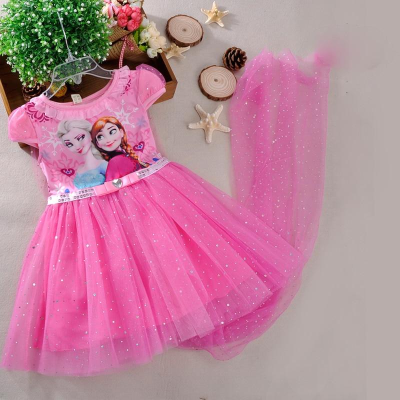 Disney Girls dress Frozen elsa dress cloak costume princess vestido kids dresses cartoon cute lovely summer
