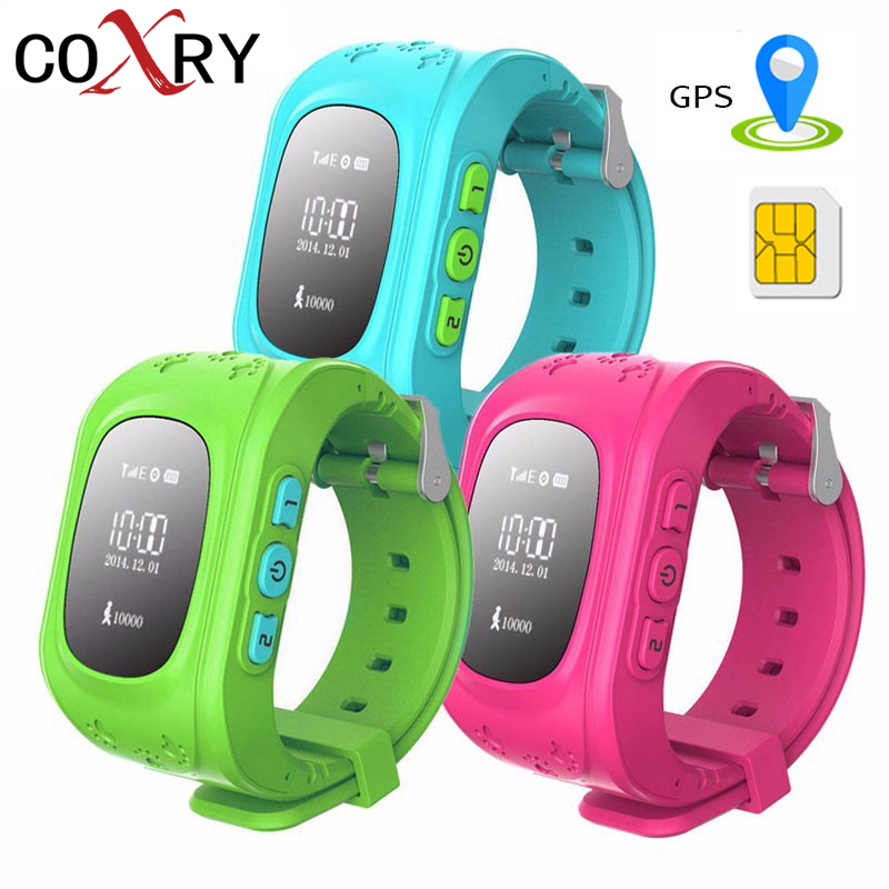COXRY GPS reloj de emergencia SOS elegante reloj de pulsera de bebé 2G Sim teléfono niños Monitor pulsera niños niñas Relojes 2018