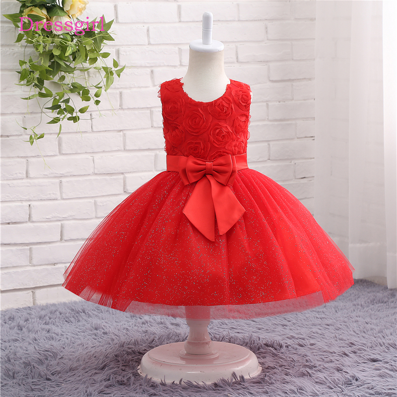 Red 2019   Flower     Girl     Dresses   For Weddings A-line Scoop Tulle Sequins Bow First Communion   Dresses   For Little   Girls