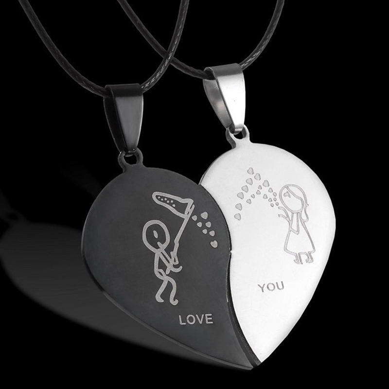 Broken Heart Couples Jewelry Necklaces Black Couple Necklace Stainless Steel Engrave Love You Pendants Necklace Valentine's Day