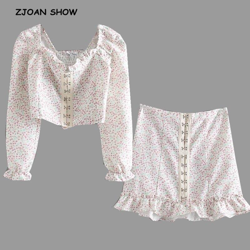 2019 Summer Metal Buckle Buttons Floral Print Long Sleeve Shirt White Woman Elastic Waist Wood Ear Ruffles Skirts 2 Pieces Set