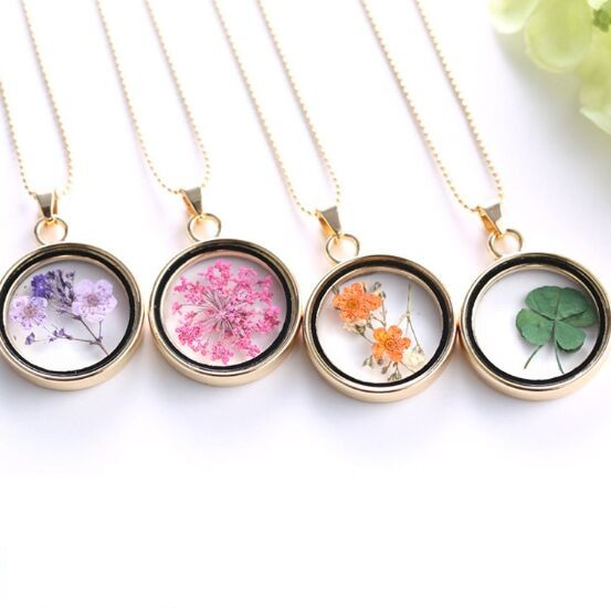 Plated gold glass locket pendant necklace floating memory lockets plated gold glass locket pendant necklace floating memory lockets with dried flower plant magnetic water proof mozeypictures Choice Image