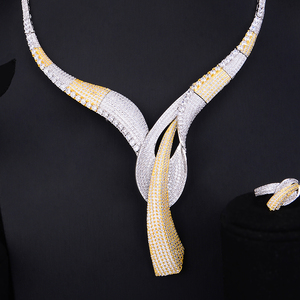 Image 5 - GODKI Beroemde Merk Bloem Lariat Chokers Luxe Nigeriaanse Dubai Sieraden Sets Voor Vrouwen CZ Zirkoon Wedding Bridal Sieraden Sets 2019