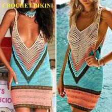 CROCHET BIKINI Manual Weave Hook Flower Hollow Out Lin Tai Sandy Beach Camisole Bikini Smock Skirt Woman  Cotton dress flower print smock dress