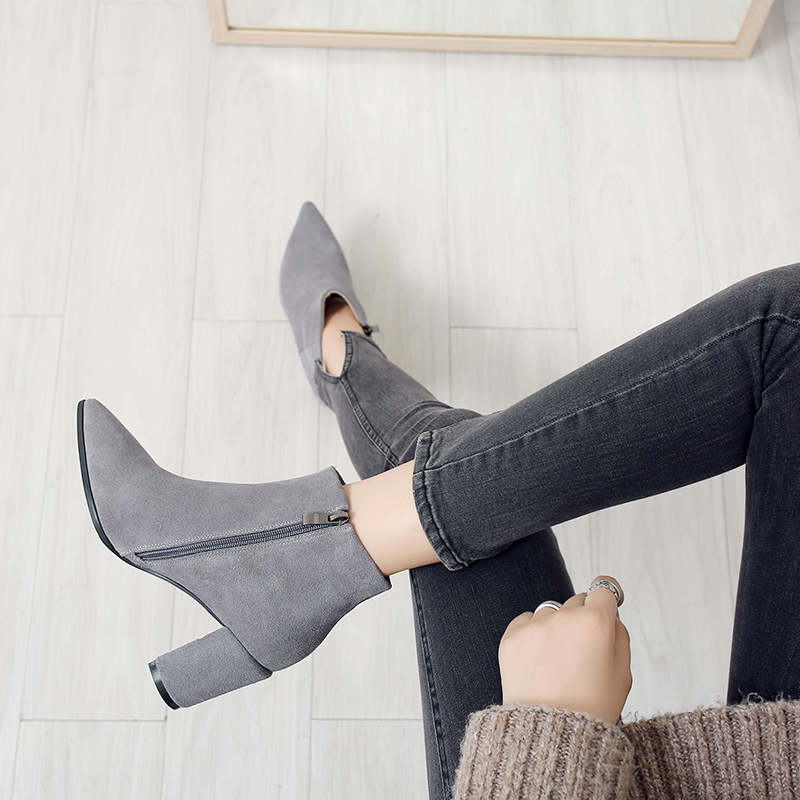 RYVBA Women suede Genuine leather pointed toe Ankle boots womens Autumn winter boots 2018 Woman fashion square high heels shoes 12